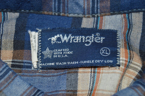 80s Wrangler Blue Brown Plaid Pearl Snap Shirt Extra Large