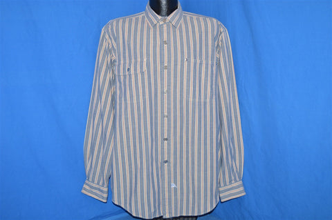 90s Polo Blue White Red Striped Button Down Shirt Large