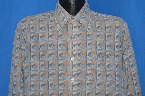 70s Landmark Grey Abstract Disco Shirt Large