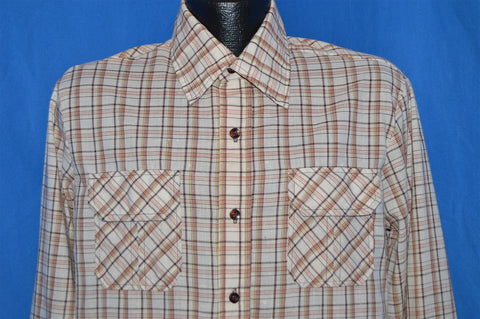 70s Brown Tan Plaid Button Down Shirt Large