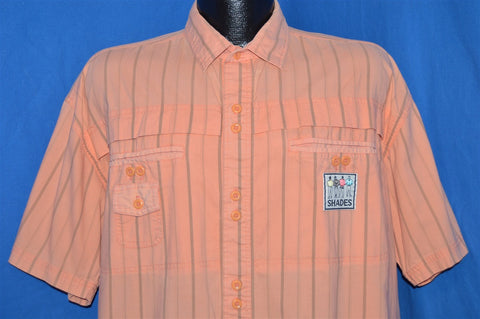 90s Neon Orange Pink Volleyball Button Down Shirt Extra Large