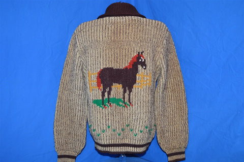 50s Horse Lover Brown Wool Zip Front Shawl Neck Cardigan Sweater Medium