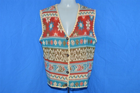 80s Italian Made Red Multi Floral Print Sweater Vest Women's Large