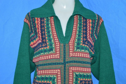 70s Green Geometric Pattern Women's Big Collar Sweater Medium