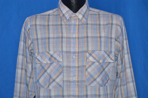 80s Blue Tan Brown Plaid Button Down Shirt Medium