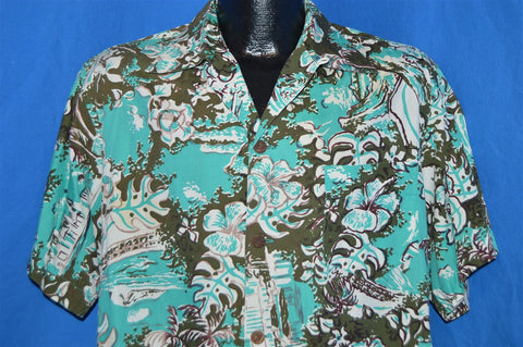 40s Shaheen's Blue Floral Hibiscus Aloha Shirt Large
