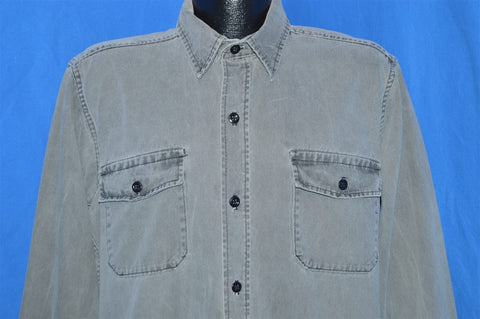 80s Twill Gray Button Down Shirt Extra Large