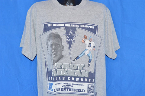 90s Troy Aikmen Record Breaking Champ Dallas Cowboys t-shirt Large