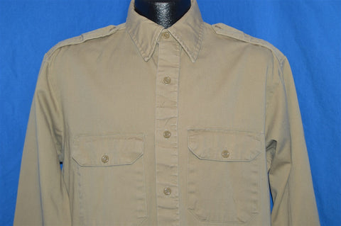 60s Military Vat Dyed Khaki Work Shirt Large