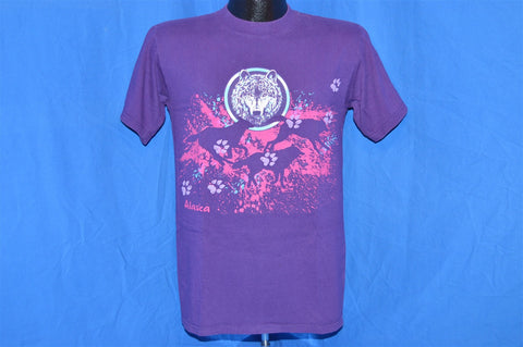 90s Alaska Wolves Wolf Puffy Paint Purple Pink t-shirt Small