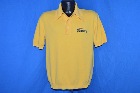 70s NFL Pittsburgh Steelers Yellow Polo Shirt Medium