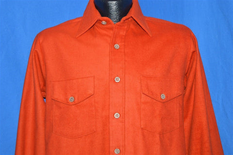 70s Loncraft Burnt Orange Flannel Deadstock Shirt Small