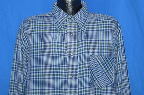 70s McGregor Scotset Green Blue Plaid Shirt Extra Large