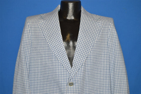 70s Sears Gingham White Blue Checkered Sport Coat jacket Large