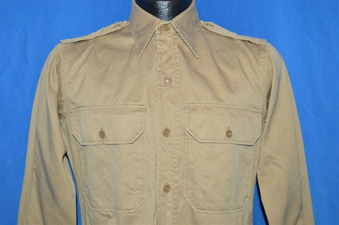 50s Korean War Khaki Military Uniform Shirt Medium