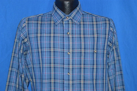 80s Blue Gray Plaid Button Down Shirt Medium