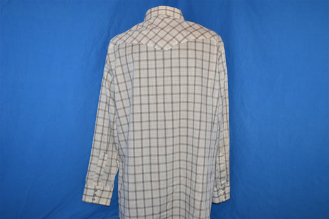 80s Lee White Brown Plaid Pearl Snap Shirt Extra Large
