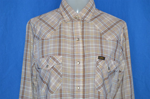 80s Lee Plaid Pearl Snap Western Shirt Womens Medium