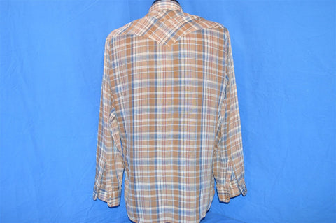 80s Levi's Brown Blue Multi Plaid Western Pearl Snap Cowboy Shirt Large Paper Thin