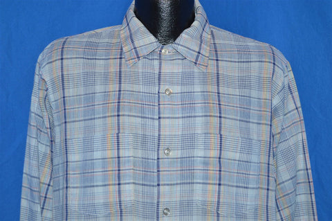 60s Golden Key Blue Rainbow Plaid Rockabilly Shirt Large