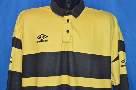 80s Umbro Yellow Black Soccer Goalie Jersey t-shirt Extra Large