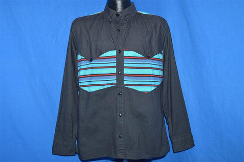 90s Western Cowboy Striped Yolk Button Down Shirt Medium