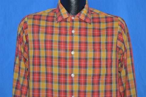 60s Sears Put On Shop Yellow Red Plaid Shirt Youth Extra Large