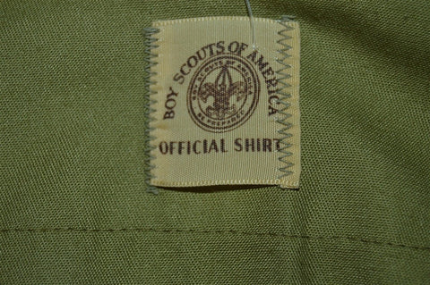 60s Boy Scouts Olive Green Uniform Shirt Youth Large
