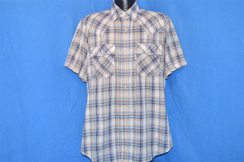 80s Levi's Blue Brown Multi Plaid Short Sleeve Western Pearl Snap Cowboy Shirt Large
