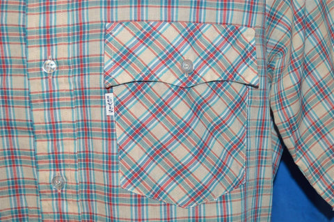80s Levi's Red Tan Multi Plaid Button Down Short Sleeve Shirt Medium Tapered