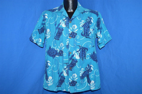 50s Hookano Polynesian Sailboat Pineapple Aloha Shirt Medium