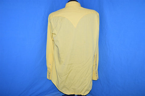 70s Rockmount Yellow Embroidered Pearl Snap Shirt Large