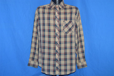 80s Brown Green Plaid Button Down Shirt Large