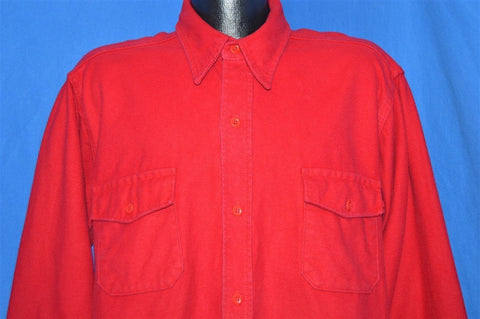 80s Red Heavy Flannel Camping Button Down Shirt Extra Large