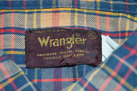 80s Tan Blue Plaid Wrangler Pearl Snap Shirt Extra Large