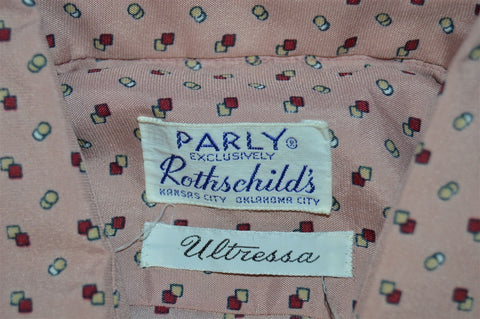 70s Parly Rothschild Pink Geometric Disco Button Shirt Large
