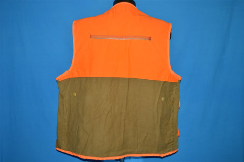 80s Saf-T-Bak Cotton Orange Zip Up Hunting Vest Extra Large
