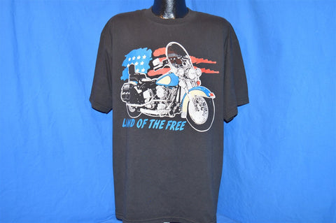 "90s ""Land of the Free"" Motorcycle American Flag t-shirt Extra-large"