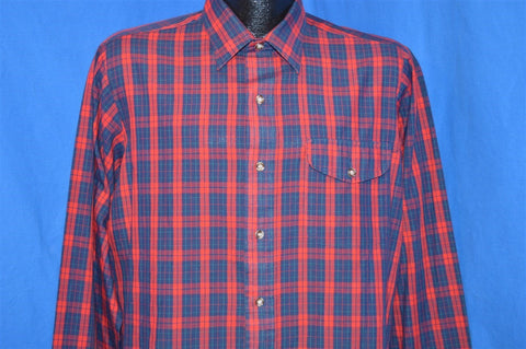 90s Red Blue Plaid Button Down Shirt Large