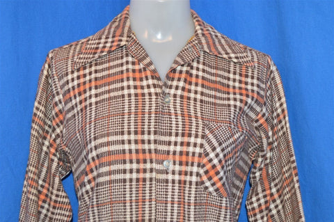 70s Brown Orange Plaid Flannel Shirt Youth Large