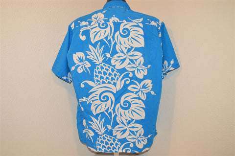 50s Blue White Pineapple Hibiscus Aloha Shirt Large