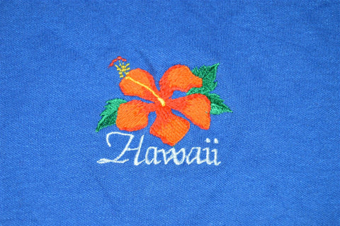 80s Poly Tees Hawaii Embroidered Hibiscus Cut Out Sleeves t-shirt Women's Small