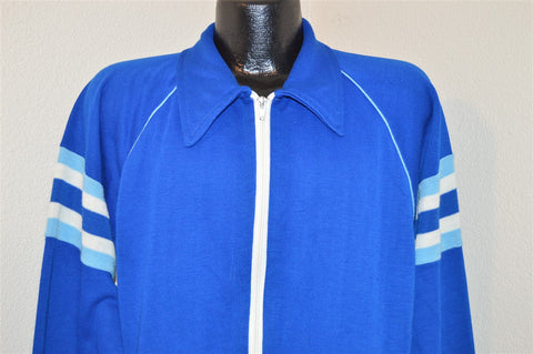 70s Blue Striped Track Jacket