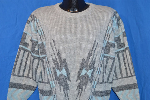 90s Gray Blue Silver Abstract Native Ugly Sweater Women's Large