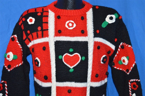 90s Sister Sister Heart Flowers 3D Ugly Sweater Youth Large