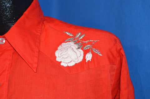 70s H Bar C Red Pearl Snap Shirt Rose Embroidered Shirt Large