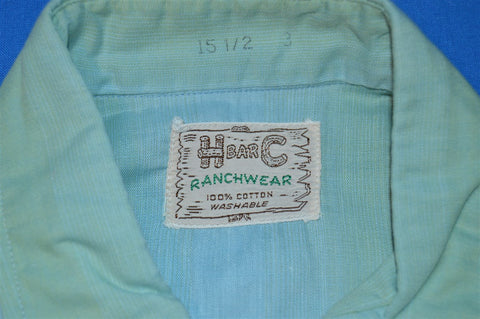 50s H Bar C Green Blue Pearl Snap Shirt Medium