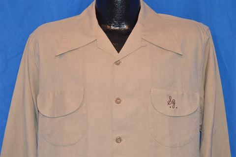 40s Duke of Hollywood Spunray Beige Shirt Large