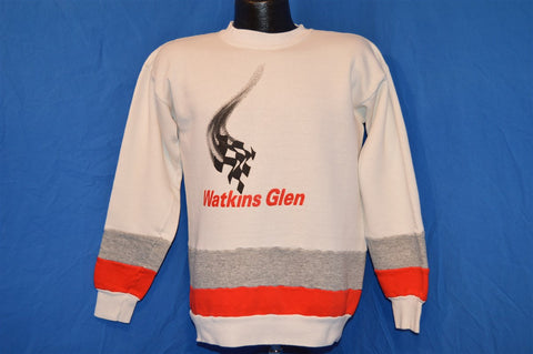 80s Watkins Glen Raceway Striped Sweatshirt Medium
