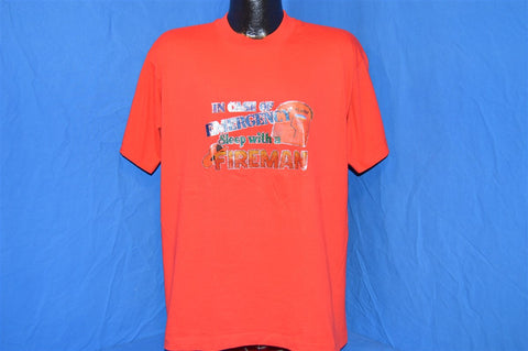 80s In Case of Emergency Sleep with a Fireman Glitter Iron On t-shirt Extra-Large